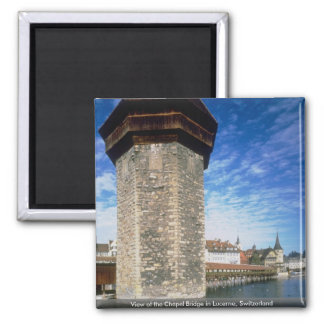 View of the Chapel Bridge in Lucerne, Switzerland Square Magnet