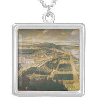 View of the Chateau and Gardens of St. Cloud, Silver Plated Necklace