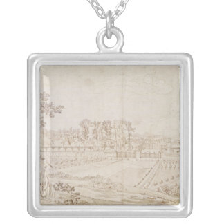 View of the Chateau of Celle-Saint-Cloud, c.1750 Silver Plated Necklace
