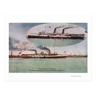 View of the Chippewa and Corona Steamers Postcard