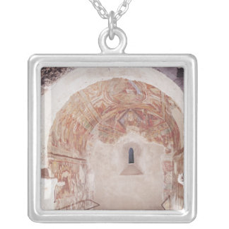 View of the choir with frescoes silver plated necklace