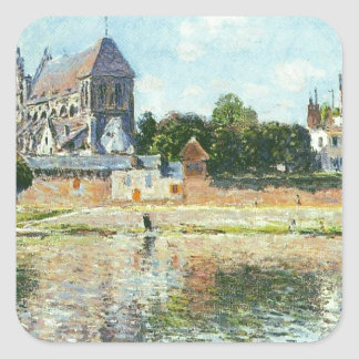 View of the Church at Vernon by Claude Monet Square Sticker
