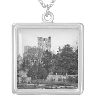 View of the church exterior, c.1052-67 silver plated necklace