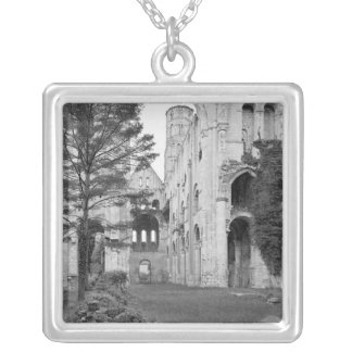 View of the church interior, c.1052-67 silver plated necklace