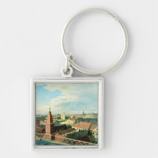 View of the city of Berlin with Altes Museum Silver-Colored Square Key Ring