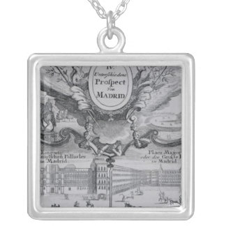 View of the city of Madrid Silver Plated Necklace