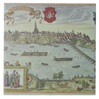 View of the city of Warsaw beside the river Vistul Tile