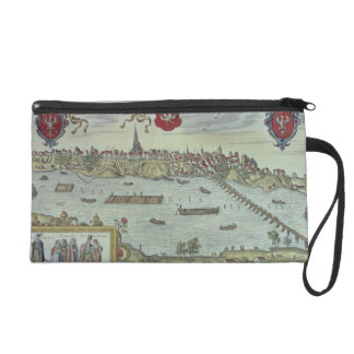 View of the city of Warsaw beside the river Vistul Wristlet Purses