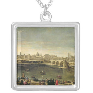 View of the City of Zaragoza Silver Plated Necklace