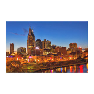 View of the city skyline at dusk canvas print