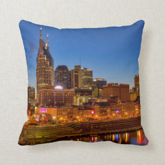 View of the city skyline at dusk cushion