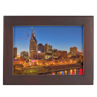 View of the city skyline at dusk keepsake box