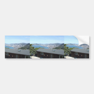 View Of The City With Mountains In Sun Shine Bumper Stickers