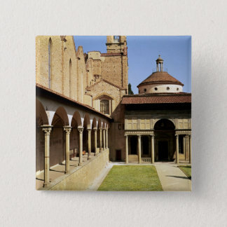 View of the cloisters and the Pazzi Chapel 15 Cm Square Badge