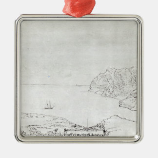 View of the coast off Chile Silver-Colored Square Decoration