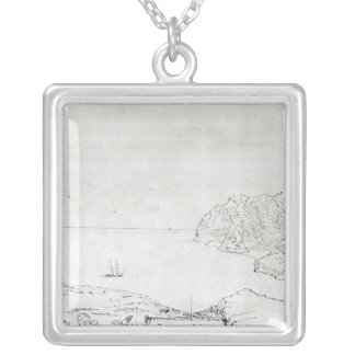 View of the coast off Chile Silver Plated Necklace