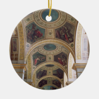 View of the coffered Library ceiling with gilded s Round Ceramic Decoration