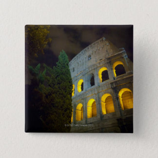 View of the Coloseum in Rome at night 15 Cm Square Badge