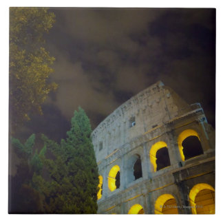 View of the Coloseum in Rome at night Tile