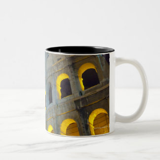 View of the Coloseum in Rome at night Two-Tone Coffee Mug