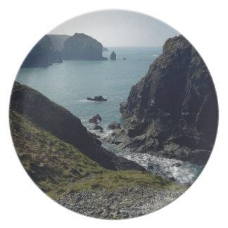 View of the Cornish coast Plate