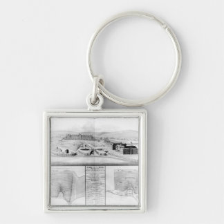 View of the Dockyard at Plymouth, 1608 Silver-Colored Square Key Ring