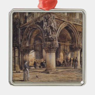 View of the Ducal Palace in Venice  Rudolf von Alt Silver-Colored Square Decoration