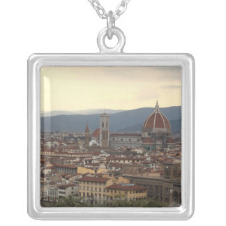 View of the Duomo Santa Maria Del Fiore in Silver Plated Necklace