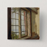 View of the Elbe through a Window, 1838 15 Cm Square Badge