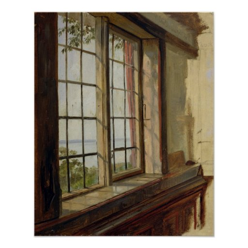 View of the Elbe through a Window, 1838 Poster