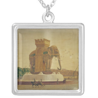 View of the Elephant Fountain Silver Plated Necklace