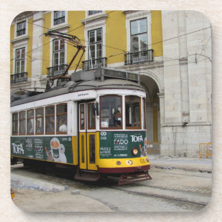 View of the famous yellow tramway at Lisbon Coaster