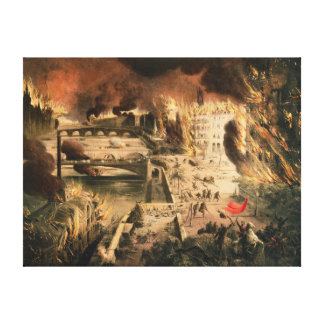 View of the Fires in Paris during the Commune Canvas Print