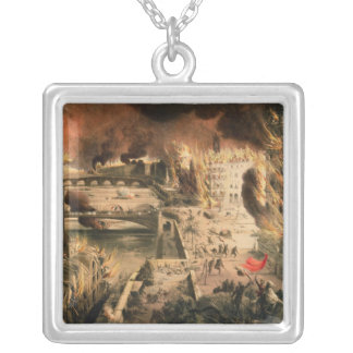View of the Fires in Paris during the Commune Silver Plated Necklace