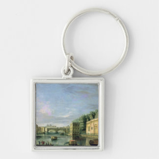 View of the Fontanka River in St Petersburg Silver-Colored Square Key Ring