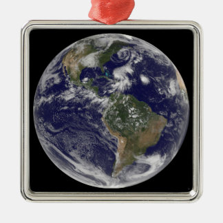 View of the full Earth and four storm systems Christmas Ornament