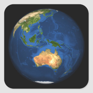 View of the full Earth showing Indonesia, Ocean Square Sticker