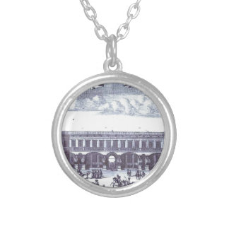 View of the Gagarin's Moscow Mansion Round Pendant Necklace