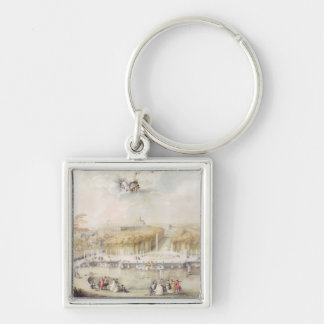 View of the Gardens and the Chateau of Versailles Silver-Colored Square Key Ring