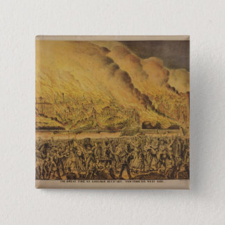 View of the Great Fire of Chicago 15 Cm Square Badge