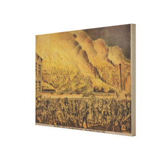 View of the Great Fire of Chicago Canvas Print