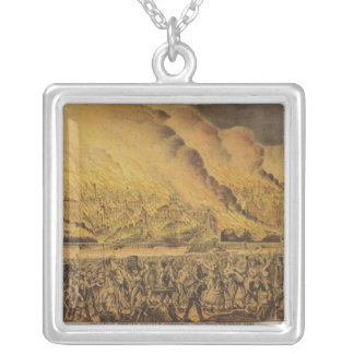 View of the Great Fire of Chicago Silver Plated Necklace