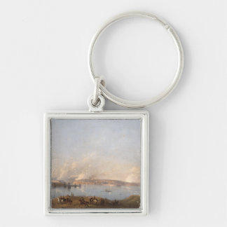 View of the Harbour of Sebastopol during the Crime Silver-Colored Square Key Ring