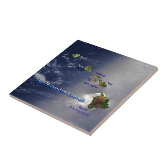 View of the Hawaiian Islands Small Square Tile