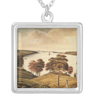 View of the Hudson River from Fort Knyphansen Silver Plated Necklace