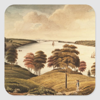 View of the Hudson River from Fort Knyphansen Square Sticker