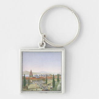 View of the Inner Courtyard of the Seraglio, Topka Silver-Colored Square Key Ring