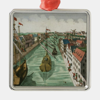View of the Kettel Gate in Delft (engraving) Christmas Ornament