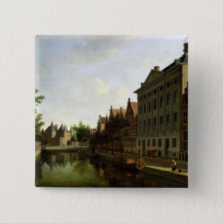 View of the Kloveniersburgwal in Amsterdam 15 Cm Square Badge