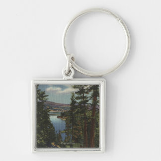 View of the Lake through the Pines # 2 Silver-Colored Square Key Ring